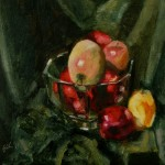 2011 Apples in Glass Bowl 35x 35 cm SOLD